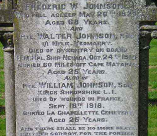 Remembered on headstone in Dereham Cemetery